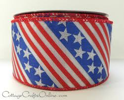 wired ribbon america white and blue and stripes wired ribbon ol 004