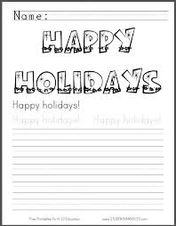 happy holidays coloring page with handwriting practice student