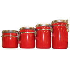 Red Kitchen Canisters Sets Unique Kitchen Canisters Red Canister Set For Kitchen