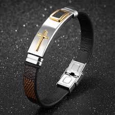 man bracelet cross images Crosstees trendy stainless steel leather wrist 185mm bangle wrap jpg