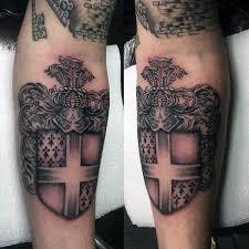shield family crest mens on inner forearm