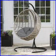 resin wicker hanging egg chair gray cushion u0026 stand seat outdoor