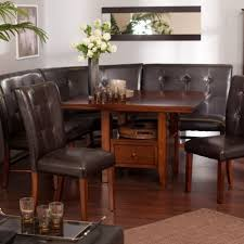 kitchen dining room set leather wood corner breakfast nook table