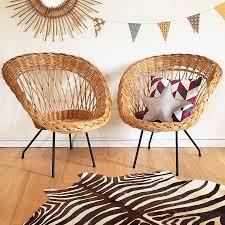 banquette rotin vintage fauteuils en rotin et métal vintage par chouette fabrique osier