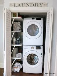 Space Saving Laundry Ideas White by White Wooden Shelves Plus White Washing Machine Also Double White