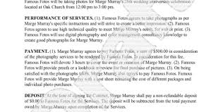 photography contract template free sample for wedding portrait to