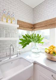 Floating White Shelves by Floating Shelves Over Farmhouse Sink Transitional Kitchen