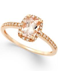 morganite gold engagement ring morganite 3 4 ct t w and diamond 1 10 ct t w ring in 14k