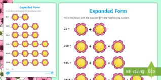 numbers in expanded form themed expanded form numbers activity sheet