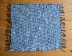 Denim Rag Rug Hand Woven Rag Rug Denim With Blue Grey Fringe 22