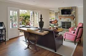 console table behind living room farmhouse with sunny san diego