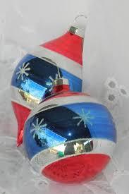 2 vtg glass teardrop ornaments white blue