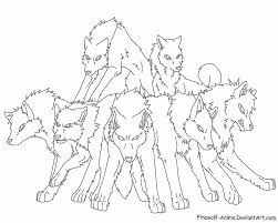 Pack Of Wolves Lineart By Firewolf Anime On Deviantart Wolf Pack Coloring Pages