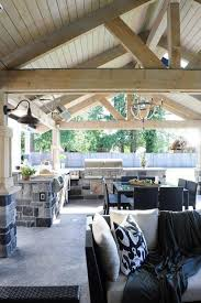 Outdoor Kitchen Covered Patio Covered Patio With Truss Ceiling Transitional Deck Patio