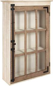 rustic kitchen cabinets with glass doors kate and laurel hutchins farmhouse wood wall storage cabinet with window pane glass door rustic and white washed finish 31 5 inches x