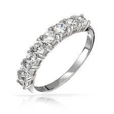 half ring 925 sterling silver half eternity ring wedding band cz