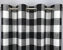Black Check Curtains Buffalo Check Drapes Etsy