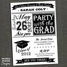 awesome black and white graduation party invitations for college