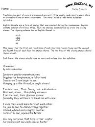 kidzone poetry activity worksheets