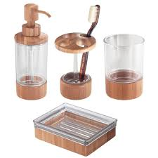 amazon com interdesign bamboo countertop bath accessory set soap