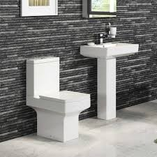 modern close coupled square toilet basin pedestal complete bathroom mirrors