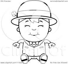 cartoon clipart of a black and white sitting child leprechaun boy