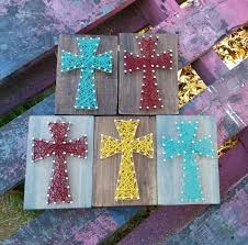 small string art cross nail art cross teal blue string art