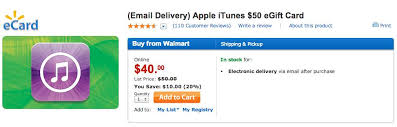 instant e gift card walmart selling 50 itunes gift cards for 40 with instant email