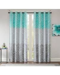 Aqua And Grey Curtains Big Deal On Intelligent Design Adel Printed Blackout 84 Inch
