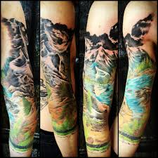 3rd color session on my mountain sleeve with justin johnson