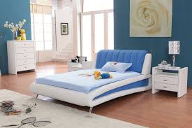 White Painted Oak Furniture Fascinating Teenage Bedroom Design With White Blue Colors Bed