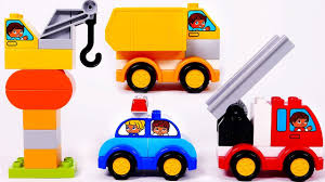 crane fire truck police car dump truck toy vehicles learn colors