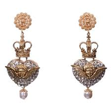 clip on earrings s dolce gabbana gold heart crown dangling clip on earring