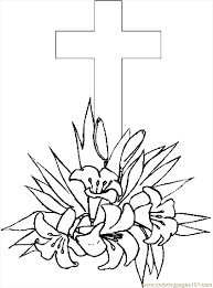 cross u0026 lilies 4 coloring page free holidays coloring pages