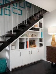 interior clever under stairs home office two wall mounted shelves