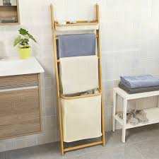 Fly Porte Serviette by Sobuy Bamboo Wall Shelf With Hamper Laundry Basket Bathroom