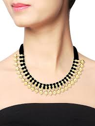 gold plated silver necklace images Buy black thread gold plated silver necklace online at jpg