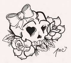 drawing outline skull and roses coloring page free printable pages