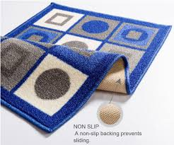 Rubber Rug Backing Central Circles And Squares Blue Geometric Mat Non Slip