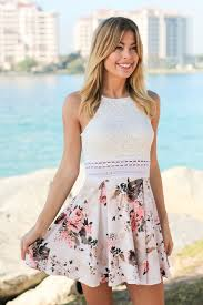 beige floral short dress with lace top short dresses u2013 saved by