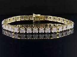 bracelet diamond men images 10k yellow gold men 39 s square cluster real diamond bracelet 2 ct 8 5 quot jpg