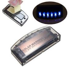 security led lights car auto solar charger 6 led car alarm warning blue light flash l