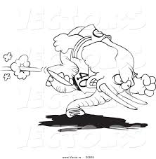 vector of a cartoon football elephant coloring page outline by
