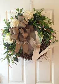 burlap monogram hydrangea grapevine wreath wedding gift initial