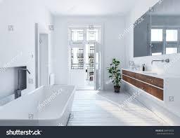 modern spacious white urban bathroom interior stock illustration