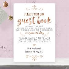 guest book sign in personalised wedding guest book table sign in gold effect