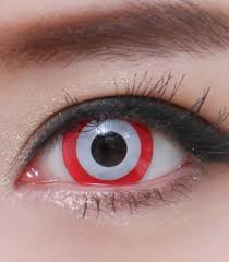 geo sf 65 crazy lens white contacts red rim halloween contact lens