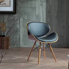 Retro Accent Chair Corvus Madonna Mid Century Black Faux Leather