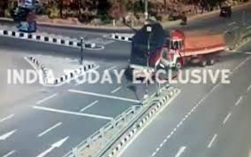 ghastly accident caught on cctv car crushed between two trucks in