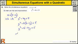 simultaneous equation with quadratic gcse further maths revision exam paper practice help